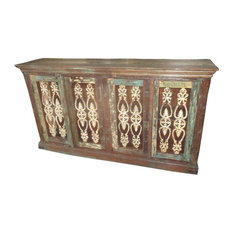 Mogul Interior - Consigned Antique Sideboard Iron Jali Buffet Dresser Reclaimed Wood Furniture - Dressers