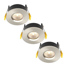 Stanley 3 Pack of Volta Recessed LED Fire Rated Downlighters, Satin Nickel