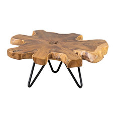 "East at Main Misool 11"" Live Edge Teak Riser with Iron Base - Large, Small"