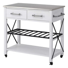 Farmhouse Kitchen Island, 2 Drawers and Lower Open Shelf With Wine Rack, White