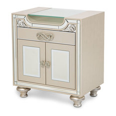 Silver Coast Company - Upholstered Nightstand, Champagne - Nightstands and Bedside Tables