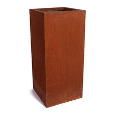 Metallic Series Corten Steel Pedestal Planter, Short