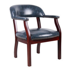 Scranton & Co Captains Chair In Blue And Mahogany