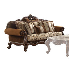 ACME Jardena Sofa with 6 Pillows, Fabric and Cherry Oak