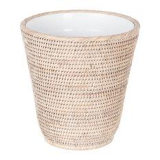 La Jolla Rattan Waste Basket with Plastic Insert, White Wash