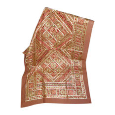 Mogulinterior - Decorative Red Sofa Throw Golden Mirror Indian Wall Hanging Throw - Tapestries
