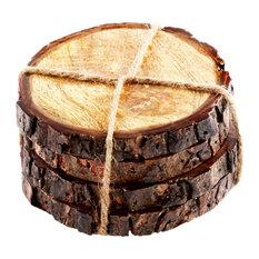 Round Mango Wood Stump Coasters, Set of 4