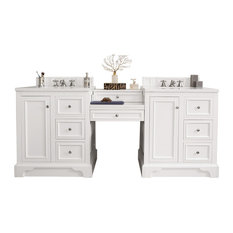 "De Soto 82"" Double Vanity Set Bright White Makeup Table, 3 cm Carrara Marble Top"