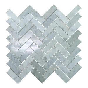 """Polished Marble Herringbone Mosaic Tile, 12""""x13"""", Bianco Carrara White, Sample"""