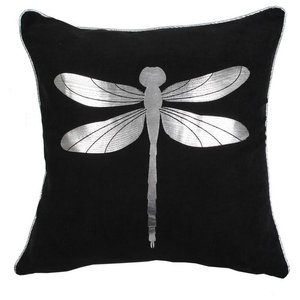 Fly Metallic Cushion Cover, Black and Silver