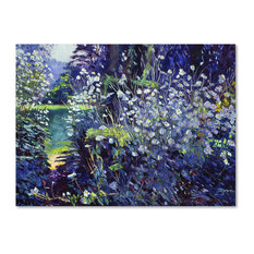 "David Lloyd Glover 'Tangled White Flowers' Canvas Art, 14""x19"""