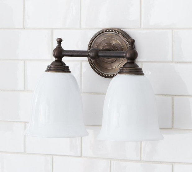 Guest picks lighting to perk up a powder room for Traditional bathroom vanity lights