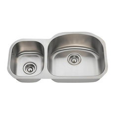 Offset Double Bowl Stainless Steel Sink, 16-Gauge, Wide Right, Sink Only