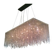 Elena 8-Light Contemporary Crystal Chandelier, Rectangular Shape, Chrome Finish