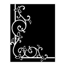 """Floral Corner Wall Decal, White, 16""""x20"""""""