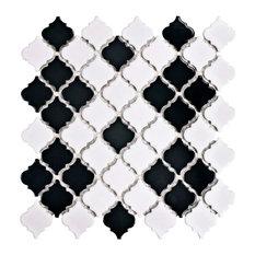"12.38""x12.5"" Antaeus Porcelain Mosaic Floor/Wall Tile, Black and White"