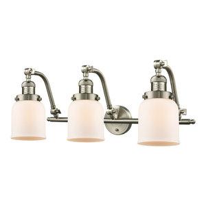 Small Bell 3 Light Bathroom Vanity Light in Brushed Satin Nickel