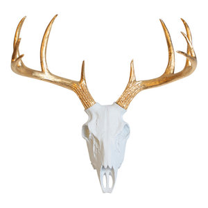 White Faux Resin Deer Skull Wall Mount, Gold Antlers