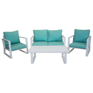 Outdoor 4-Piece Bolonia Furniture Set With 2-Seater Sofa, White