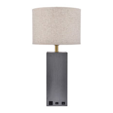 Brio Collection 1-Light Concrete Finish Table Lamp