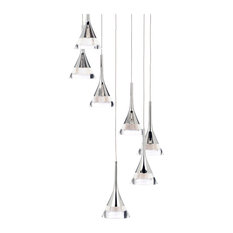 Visconte Gem Conical LED 7-Light Ceiling Cluster Pendant, Chrome