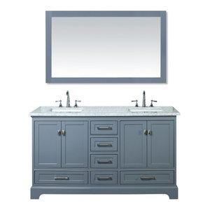 """Newport Bathroom Vanity With Mirror, Gray, 60"""", Double Sink"""