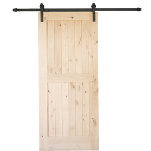 "Artisan Hardware Knotty Alder 2 Panel Barn Door Unfinished, 36""x84"""