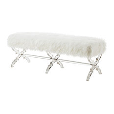 Enzo Faux Fur Acrylic X-Leg Bench, Cream White