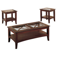 Wooden 3-Piece Table Set With Glass Top, Dark Cherry Brown