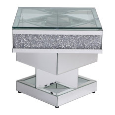 Windsor Crystal Mirrored End Table Tempered Glass