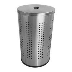 46L Laundry Hamper, Brushed Stainless Steel