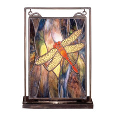 """9 5""""Wx10 5""""H Tiffany Dragonfly Lighted Mini Tabletop Window"""