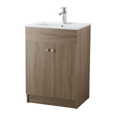Infurniture Brown Oak Finish Ceramic Sink-Top Single Sink Bathroom Vanity