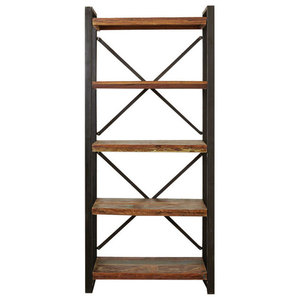 Urban Chic Contemporary Reclaimed Wood Open Bookcase, Large