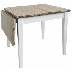 Square Extended Table, Hardwood With Oak Finished Top, Contemporary Style, White
