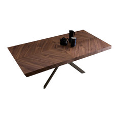Quadron Rectangular Dining Table, Canaletto Walnut With Metal Base