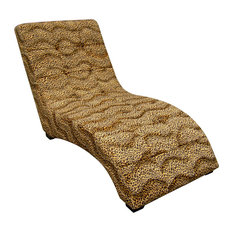 52 Long Wooden Modern Chaise Lounge Chair Leopard Print Faux Suede