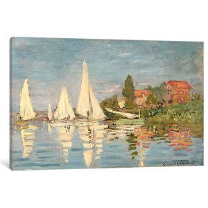 """Regatta at Argenteuil, c.1872 "" by Claude Monet, 12x8x0.75"", 18x12x0.75"""