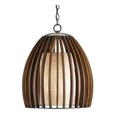 Carina Wood And Burlap Slat Mid Century Style Bell Pendant Lamp   Pendant  Lighting