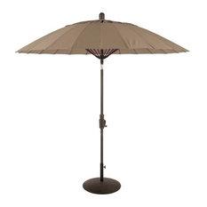 Balboa Breeze 8' Round Collar Tilt Fiberglass Umbrella, Sunbrella Taupe