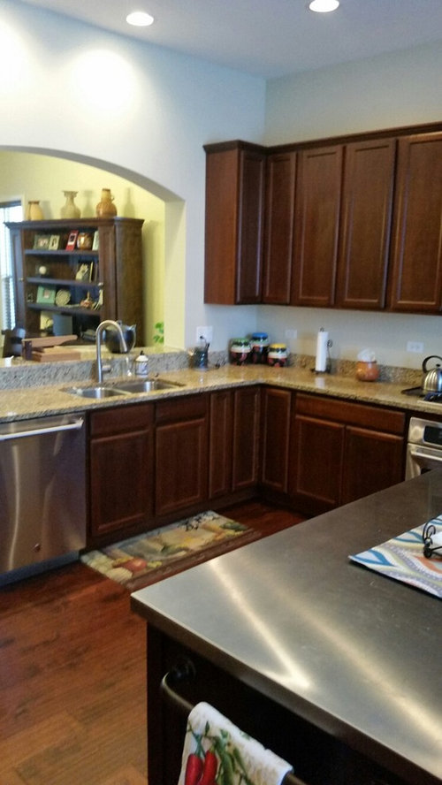 I have a kitchen with dark cherry cabinets and dark cherry ... Ideas For Kitchen Backsplash Cherry Cabinets Wood Floors on porcelain tile kitchen floor ideas, silestone countertops for backsplash ideas, silestone lagoon backsplash ideas,