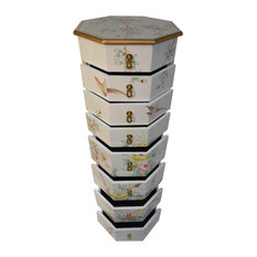 na asian white lacquer floral painted pedestal with drawers dressers asian style furniture korean antique style 49