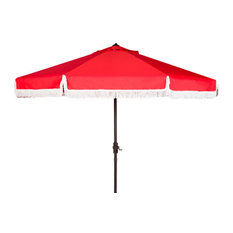 Milan Fringe Crank Umbrella, 9', Red