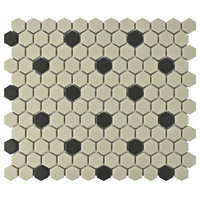 "10.25""x12"" Manhattan Hex Unglazed Porcelain Mosaic Tiles, Dot"
