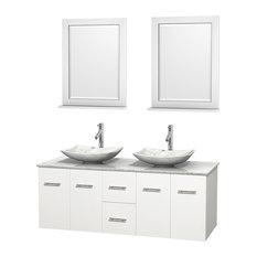 "60"" Double Vanity,Matte White,White Marble Top,White Marble Sinks,Mirrors"