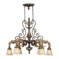 Regency 6-Light Chandelier, Burnt Bronze