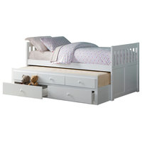 Carissa Twin Over Twin Trundle Bed With Two Storage Drawers, White