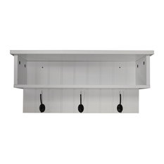 New England Wall Mounted Hall Rack With Storage and 3 Coat Hooks, White