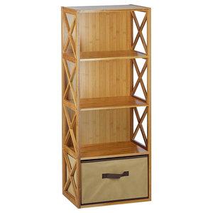 Freestanding Storage Rack, Natural Bamboo Wood With Drawer, Modern X Design
