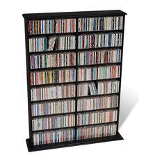 Prepac Furniture - Prepac Double Width CD DVD Wall Media Storage Rack in Black - Media Racks and Towers
